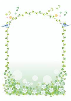 Singing small bird frame (vertical)