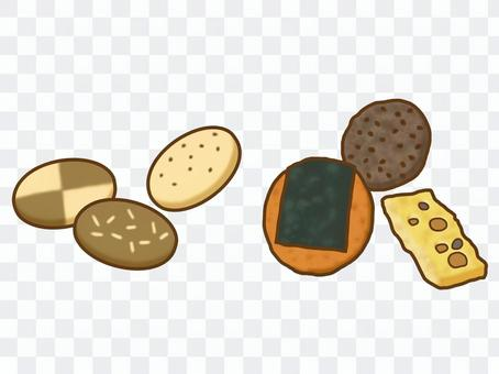 Cookies and rice crackers