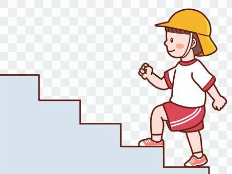 階段を登る子供