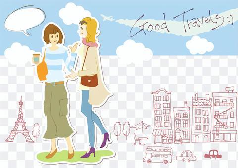 日本婦女和外國婦女並排行走(無線)
