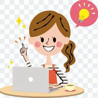 閃爍的女性個人電腦工作女子淺棕色