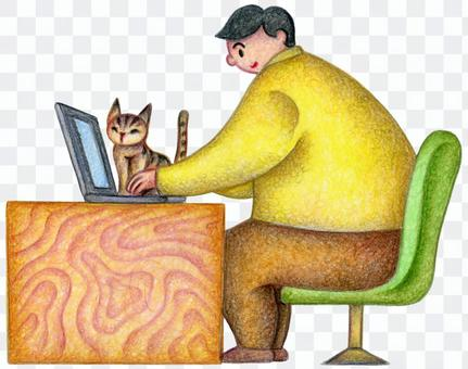 Men and cats doing desk work