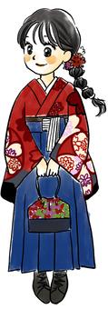 Girl in dark blue hakama