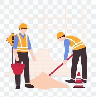 Two men working