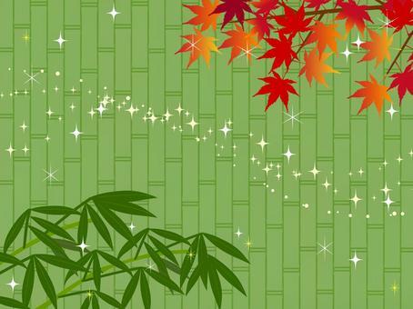 日式秋天背景楓秋葉狩獵