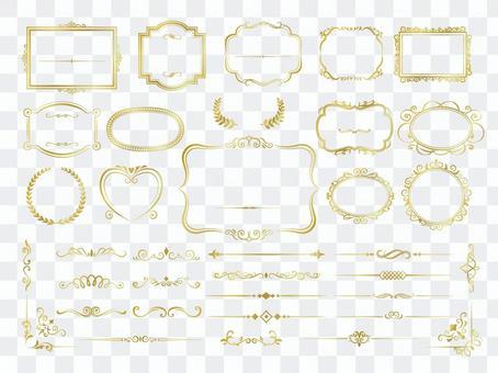金色復古框架和裝飾性邊框