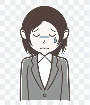 西裝女人手勢哭傷心