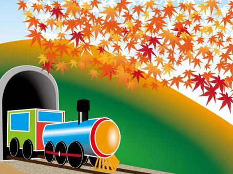 秋天的落叶和机车
