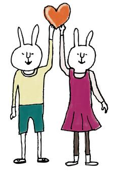 心脏兔子矢量版本