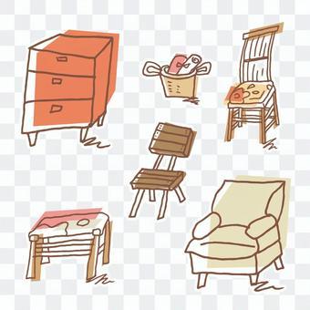 Illustration of handwriting style furniture