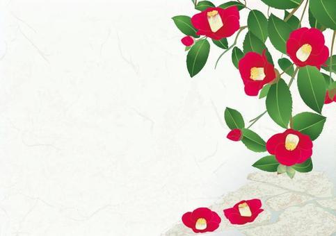 山茶花的花園_日本紙的背景