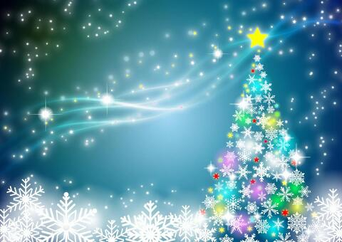 Milky Way background with snowflakes Christmas tree
