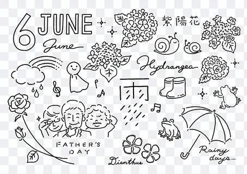 簡單的黑白線條畫/六月插圖集