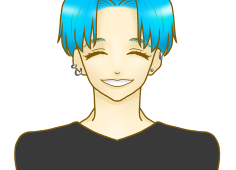 Illustration of a man whose hair is light blue and laughs with a smile