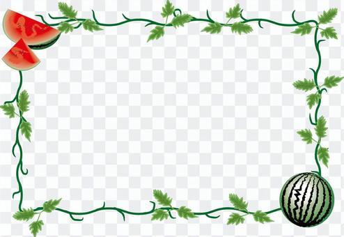 西瓜切切夏天莖葉裝飾