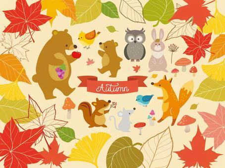 秋天的樹葉框架和動物插圖(3)