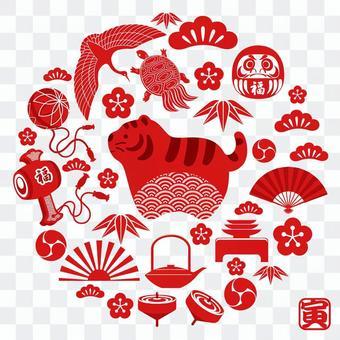 虎年賀年卡素材 圓形賀年卡符號