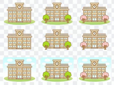學校建築插圖素材集