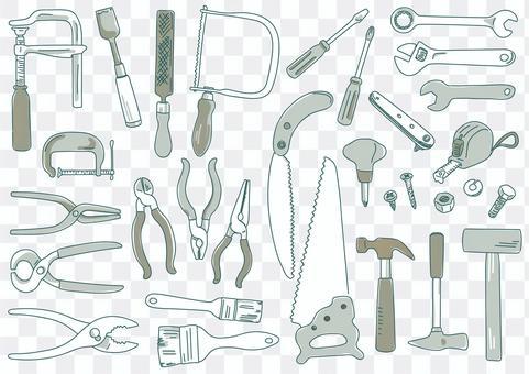 手繪線條藝術插圖的tools_one音調