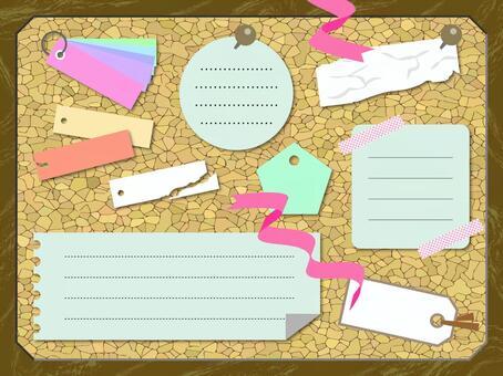 軟木板和標籤備忘錄