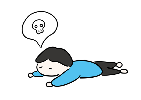 Illustration of a man who is tired and collapses