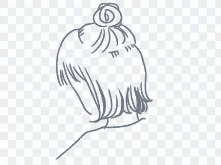 高髻女(髮型/畫線)