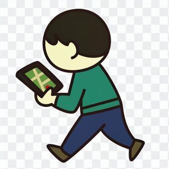 男子用平板電腦