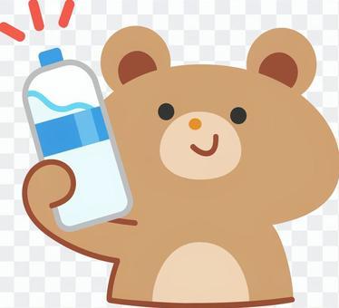 熊手裡拿著一瓶水