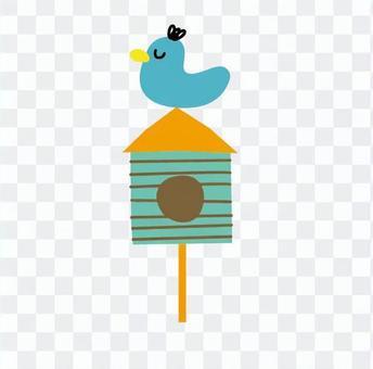Triangular roof aviary (light blue bird)