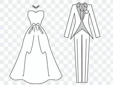 婚纱礼服和燕尾服