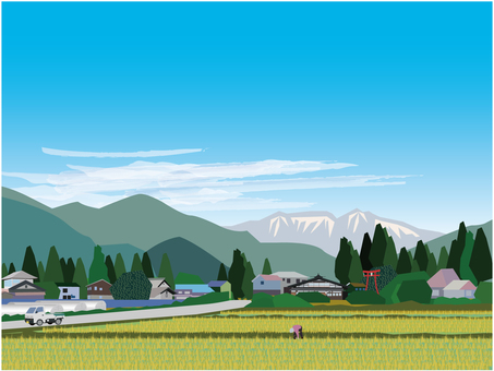 Countryside landscape before harvesting rice