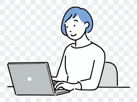 一位女士在網上搜索信息