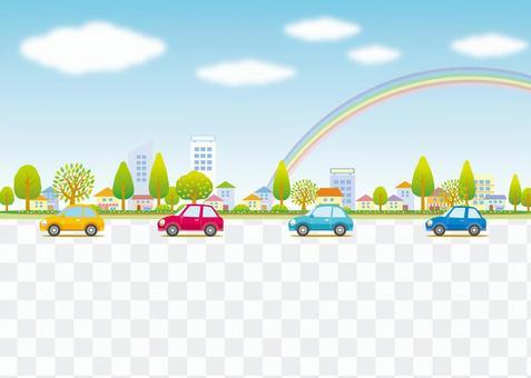 驅動器和都市風景風景