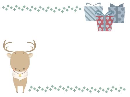 沒有線條的馴鹿和禮物框架
