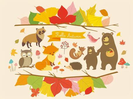秋季動物和植物插圖(3)