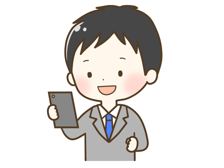 A man in a suit who is pleased to see a smartphone