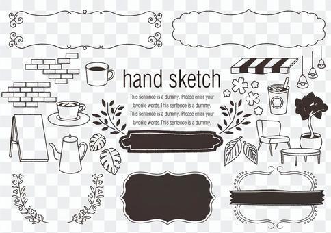 手繪素材027咖啡廳的形象