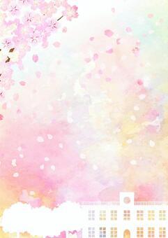水彩風格的花朵和教學樓的風景垂直