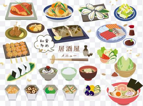 Izakaya menu with a lot of Japanese food