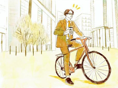 上班族騎自行車與咖啡上下班