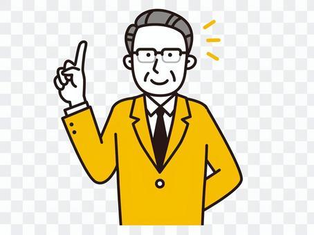 Senior male glasses pointing