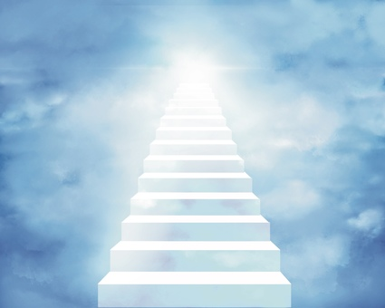 Stairs leading to heaven background illustration