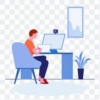 在計算機上工作的人