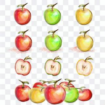 水彩風格蘋果手繪集