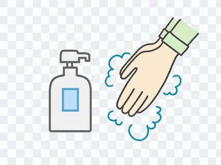 ハンドソープで手洗いをしているイラスト