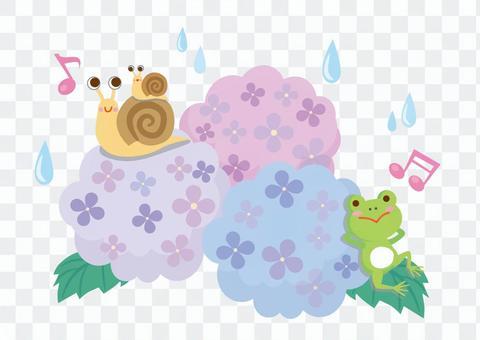 青蛙和蝸牛和繡球花