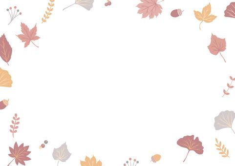 秋季落葉自然裝飾框2