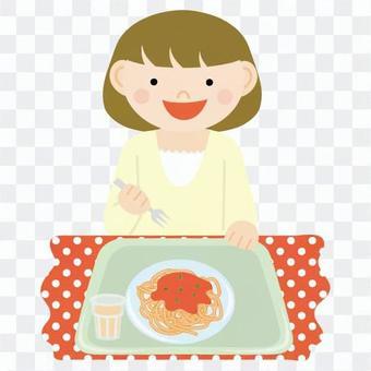 女人吃麵食1