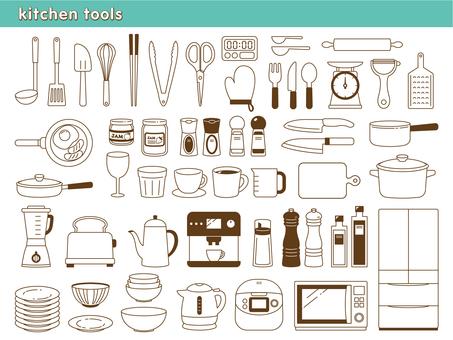 Kitchen utensils line drawing illustration set