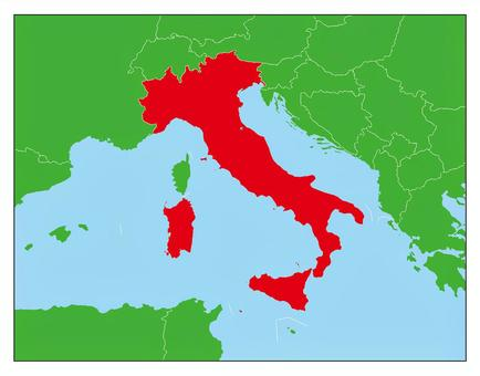 Italy Map-Red